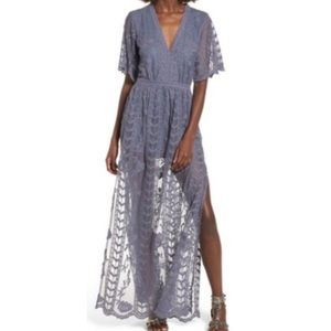 Socialite Overlay Lace Maxi Romper (S) Dusty Blue